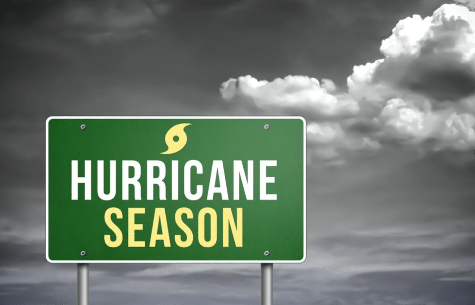 "Highway sign that reads ""hurricane season"""